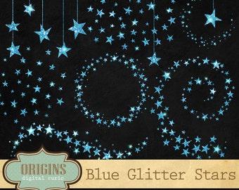 Blue Glitter Stars Clipart, Glitter Clip Art, Glitter stars, Celestial Clipart, starry night sky PNG Digital Baby Shower Sparkle png clipart