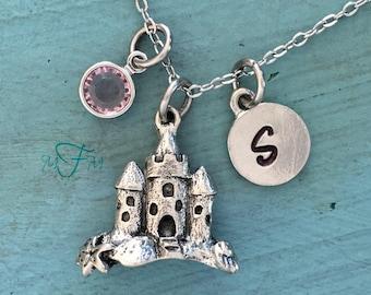 Sand Castle Charm Necklace, Personalized Necklace, Silver Pewter Sand Castle Charm, Custom Necklace, Swarovski Crystal birthstone, monogram
