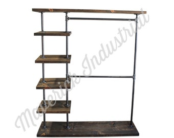 Industrial Double Bar Clothing Rack - Entry Way Rack - Hall Tree - Garment Rack - Clothes Rack (ENTDB)