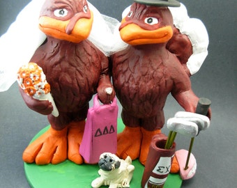 Hokie Bird Wedding Cake Topper - Custom Made