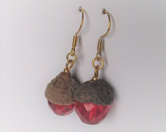 Earrings made of real acorn cap and glass beads