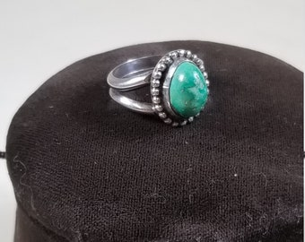 VIntage 925 Sterling Silver and Raw Turquoise Solitaire Double Band Ring Size 6 Native American