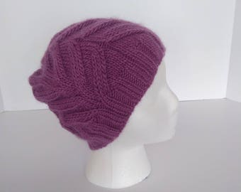Purple, knit, cabled, beanie, hand-knit, hat