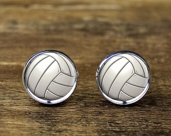 Volleyball cufflinks, Sports cufflinks, Volleyball jewelry