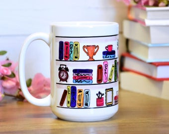 Library Wrap Mug / Bookshelf Mug / Book Mug / Gift for Librarian / Mug Gift / Book Lover Coffee Cup National Librarian's Day / Library Week