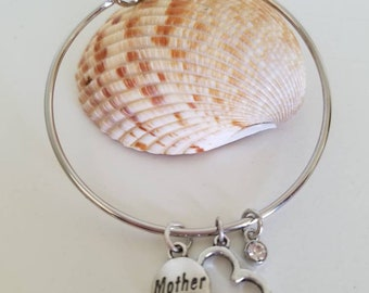 Mother's Charm Birthstone Bangle Bracelet