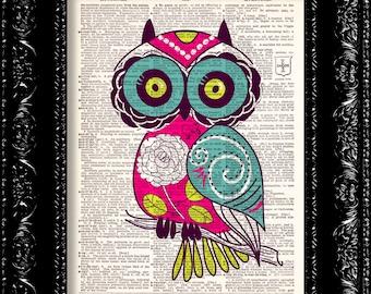 Baby Pink Owl - Vintage Dictionary Print Vintage Book Print Page Art Upcycled Vintage Book Art