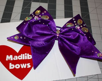 Purple fabric bow with Swarovski Crystals