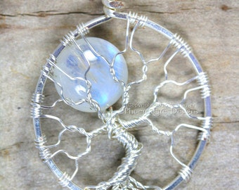 Rainbow Moonstone Eco Friendly Tree of Life Pendant Recycled Argentium Sterling Silver Necklace Celestial Full Moon Wire Wrapped Jewelry