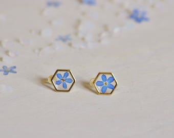 Forget me not Hexagonal Earrings Pressed flowers earrings Resin jewellery Botanical Jewelry Dried myosotis Flower resin Minimalist earrings