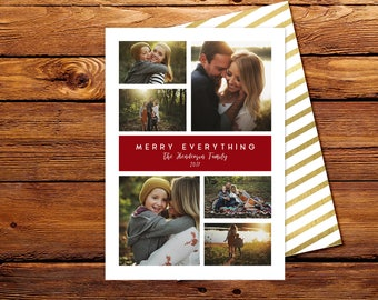 Christmas Photo Card - Holiday Picture Card - Merry Everything Christmas Card - Personalized Family - DIY Printable Card - Digital or Print