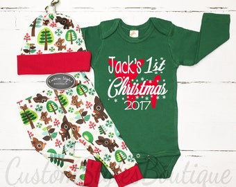 My First Christmas Outfit, Baby Boy, Personalized Bodysuit, Retro Reindeer Christmas Leggings & Hat, Baby Boy's 1st Christmas Outfit