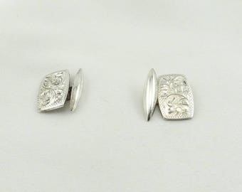 Vintage Hand Engraved Sterling Silver Cufflinks. FREE Shipping #ENGRAVED-CL
