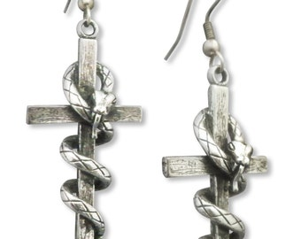 Cross with Hissing Snake Silver Finish Pewter Earrings #821