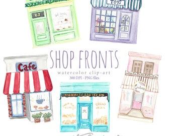 Watercolor Clip Art Shop Front Set, Store Front, Buildings, Business, Scrapbooking, Pastry, Cafe, Bakery, Boutique, Supermarket