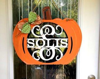 Monogram pumpkin door hanger, monogram door hanger, fall door hanger, fall decor, pumpkin door hanger, fall, halloween, initial wreath