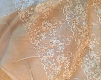 "Vintage 1950's CREAM/Off White ORGANZA Sheer Lace Floral Dress FABRIC By Yard 42"" Wide"