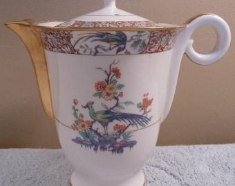 Rare antique Theodore Haviland New York colorful BIRD OF INDIA tea or coffee pot