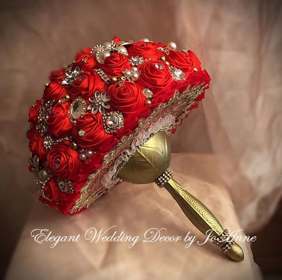 RED AND GOLD Bridal Brooch Wedding Bouquet Red and Gold