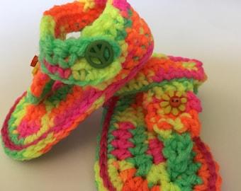 Baby Flip Flops 6-9 mos, hand crochet sandals.