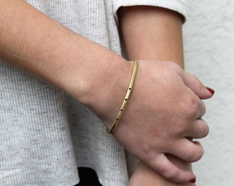 Thin Gold Bangle, Thin gold bracelet, thin delicate gold bracelet, Thin gold bangle bracelet, Gold Dainty Cuff bracelet gold
