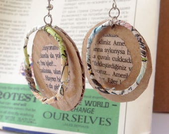 Eco earrings, upcycled paper jewelry, sustainable slow fashion jewelry, recycled paper earrings, green book earrings, eco statement jewelry