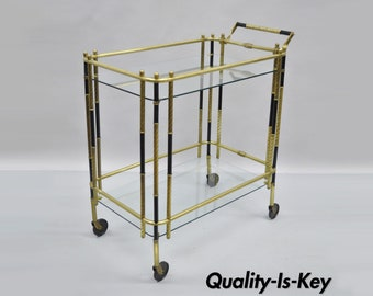 Vintage Italian Mid Century Modern Brass and Glass Rolling Bar Cart Tea Server Table