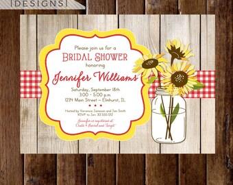 Sunflower Bouquet in Mason Jar Bridal Shower Invite, Barn Wood Invite, Sunflower Invite, Picnic Invitation, Sunflower invitation, Rustic