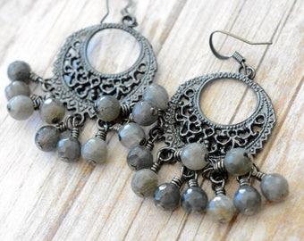 Labradorite Chandelier Earrings, Labradorite Earrings, Chandelier Earrings, Women's Earrings, Boho Earrings, Gift for her