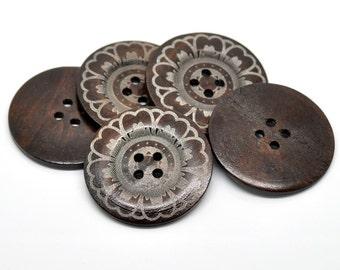 Bouton extra gros - 3 bouton en bois de 60mm - motif fleur