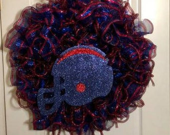 Football wreath, tail gate party wreath,red and blue wreath,door decor,love football