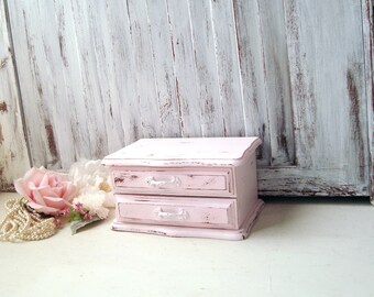 Pink Small Vintage Jewelry Box, Baby Pink Jewelry Box, Light Pink  Wooden Jewelry Holder, Shabby Chic, Pink Nursery Room Decor, Gift Idea