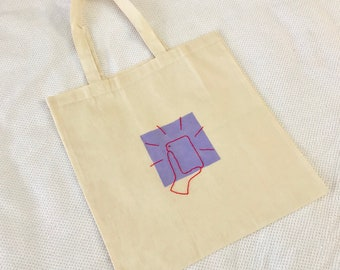 Selfie Flash on Lilac Square Embroidered Tote Bag