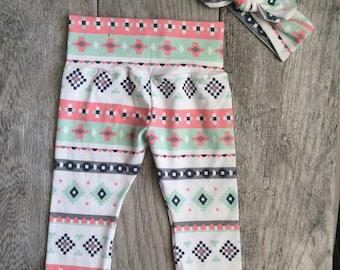 Baby Girl Leggings and Headband. Baby Girl Gift Set. Gift For Baby Girl. Leggings and Headband. Pink Stripes.