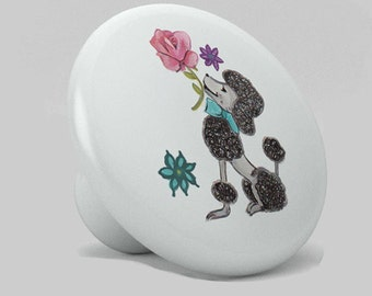 French Poodle Ceramic Knob for Drawers, Cabinets, Nursery