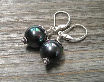 Black Pearl Earrings, Peacock Sea Shell Pearls, June Birthstone, Sterling Silver, Pearl Dangle