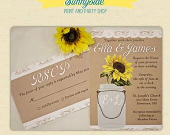 Sunflower wedding invitations // mason jar country rustic wedding invite // burlap and lace // Budget Friendly, Printed invitations