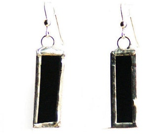Black Glass Earrings- Rectangle Earrings- Art Deco Earrings- Geometric Earrings- Dangling Earrings- Modern Earrings -Modern Jewelry Citybitz