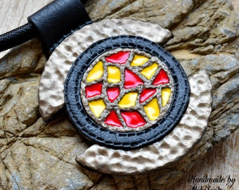 Mosaic pendant Mosaic necklace Polymer clay jewelry for women Red necklace Yellow necklace Black necklace Stylish pendant Stylish necklace