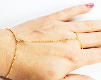 Simple Gold Hand Chain - Gold Slave Bracelet