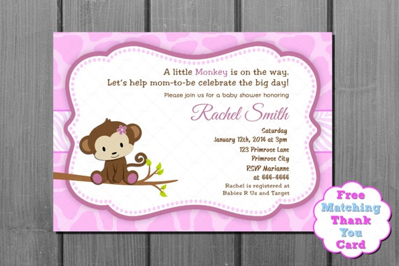 Items similar to pink monkey girl baby shower invitation card and items similar to pink monkey girl baby shower invitation card and free thank you card printable diy on etsy filmwisefo