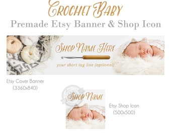 Crochet Shop Cover Banner and Icon Set for Etsy Stores with a Sleeping Baby for Handmade Crochet or Knitting Shops in a Hygge Style