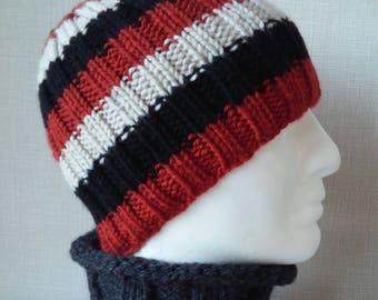 STRIPED HAT PATTERN Knit Flat Beanie Knitting Pattern Birthday Gift for Him Boyfriend Beanie Knit Hat Digital Download Gift for Men /Sam