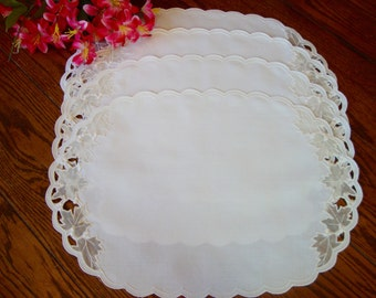 Four White Placemats Set of Vintage Cotton Blend Place Mats Sheer Leaves
