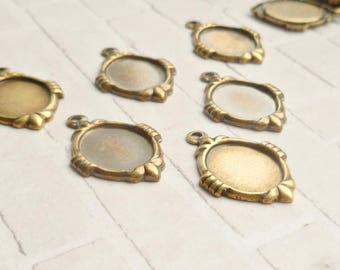 12 Brass Ox 10x8mm One Loop Cabochon Settings (5-59-12)