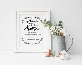 "Printable Wifi Password Welcome to Our Home | Instant Download | Hand Lettered | 8x10"" and 5x7"" 