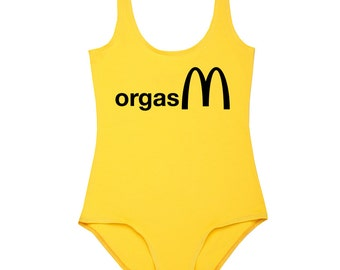 Orgasm Bodysuit Leotard Top Womens Ladies Girls T Shirt Tumblr Hipster Grunge Retro Vtg Boho Festival Swag Summer Yellow Fries Food Fashion