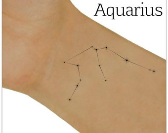 Aquarius Temporary Tattoo Zodiac Star Constellation  Waterproof Fake Tattoo Thin Durable