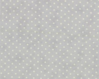 Gray and White Small Polka Dot Patterned Fabric - Essential Dots by Moda 1/2 Yard