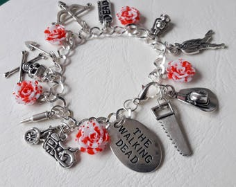 ♥ Silver Charm Bracelet themed zombie The Walking Dead ♥ ♥